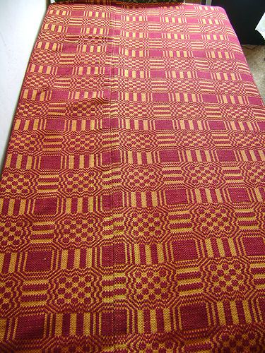 19th century Hand woven wool coverlet