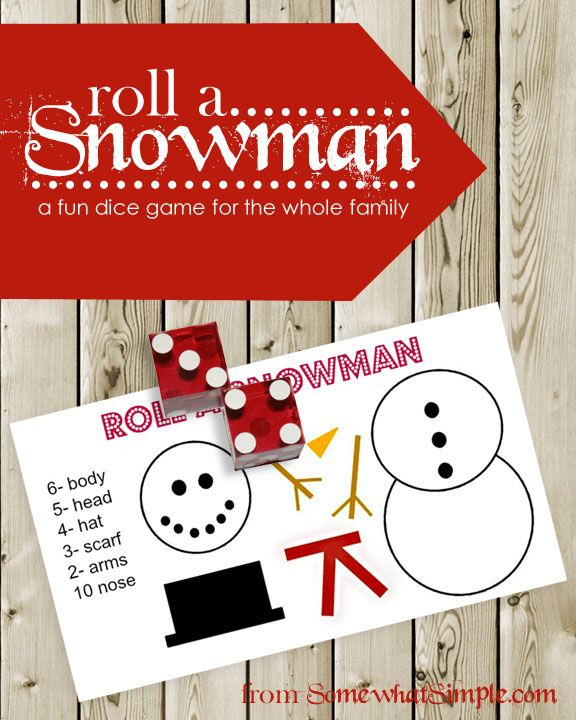 This snowman dice game can't get any easier to prepare and play! It's great for kids and adults of all ages- my young kids love it, but you could also have your teenage children play it to see who gets out of doing the dishes after dinner- get creative!: