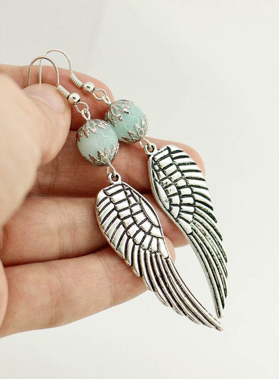 Flügel Ohrringe lange Ohrringe baumeln Ohrringe Anweisung Ohrring blau Ohrring Boho Schmuck Muttertagsgeschenk für Schwester Geburtstagsgeschenk für ihre Frau