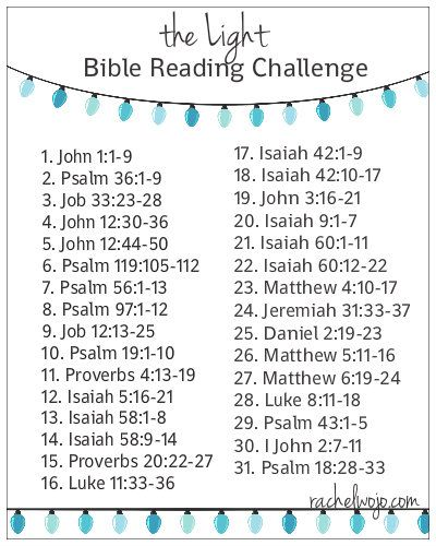 Join us for December anytime and read this topical Bible reading plan, The Light!