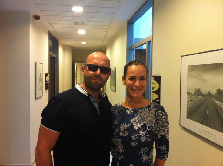 Our patient Astrit and his Medical Tourism Manager Sofia in the corridor of MDental Clinic