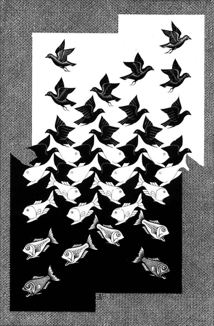 "Color in Motion Volume 174: M.C. Escher ""Sky and Water II"" 1938 . ""Sky and Water II"" is a lithograph print by the Dutch artist M. C. Escher which was first printed in 1938. It is similar to the woo..."