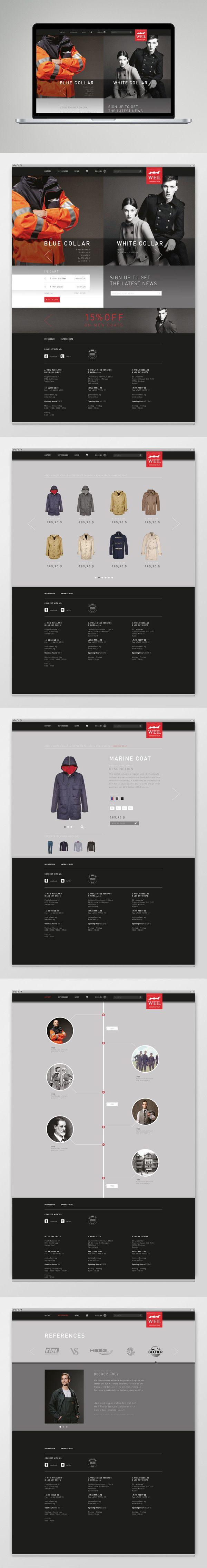 Corporate Wear Website - Preview by Katharina Mauer, via Behance *** Website Layout Preview for a Corporate Wear Manufature.
