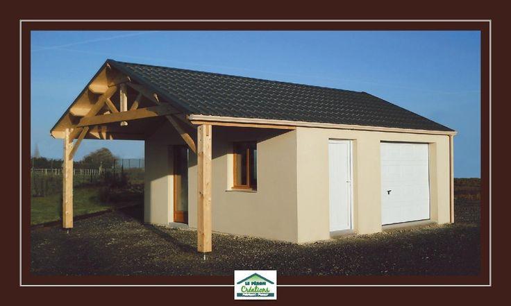 Garage béton 30 m² + auvent, couverture panneaux tuile