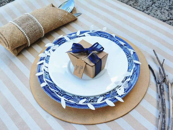 A rustic navy theme: Tiny brown Kraft Ballotin box   #Weddingdecore #Rusticwedding #weddingideas #weddinginspiration #DIY #Bonbonnieres #Cutlery #Ribbons #Barama #Navywedding #chinaplates #Weddingstyling