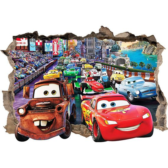 DISNEY CARS 3d Wall Sticker Smashed Bedroom Kids decor