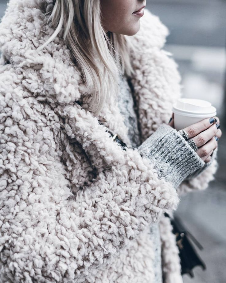 "2,319 Likes, 48 Comments - Jacqueline Mikuta (@mikutas) on Instagram: ""Fluffy  Loving this fluffy pink coat! And coffee  #fluffy #lightpink #happyfriday"""