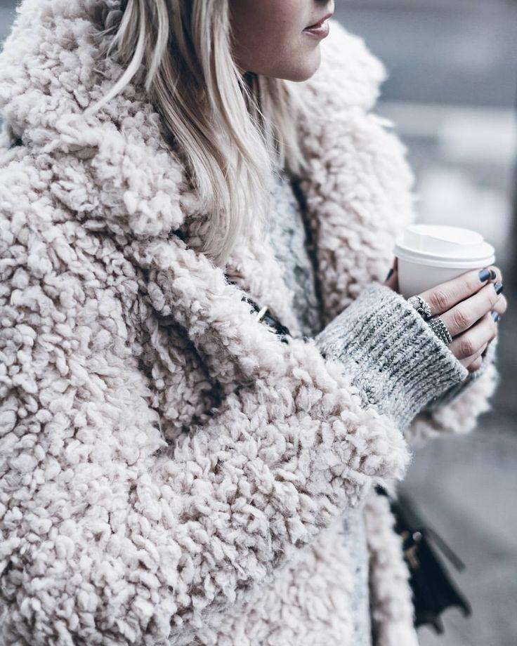 "Jacqueline Mikuta (@mikutas) on Instagram: ""Fluffy Loving this fluffy pink coat! And coffee #fluffy #lightpink #happyfriday"""