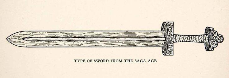 1930 Print Sword Weapon Saga Age Iceland Nordic Norse Legend Hero Njall XEM6