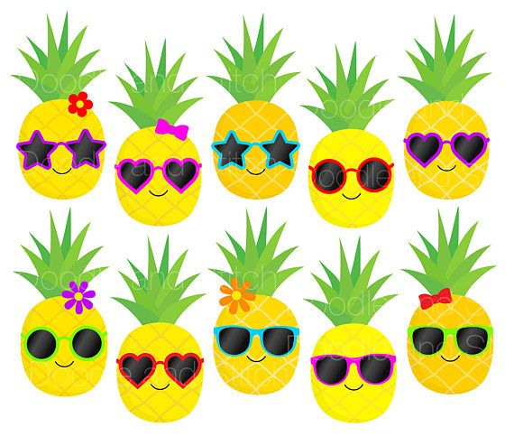 Pineapple Clip Art Pictures, Pineapples in Sunglasses ...