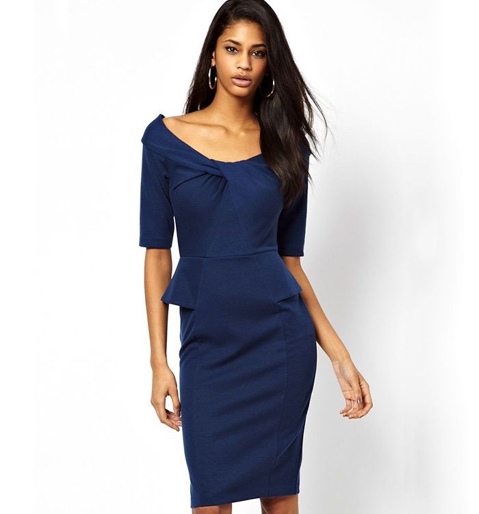 Blue Bodycon Midi Peplum Dress