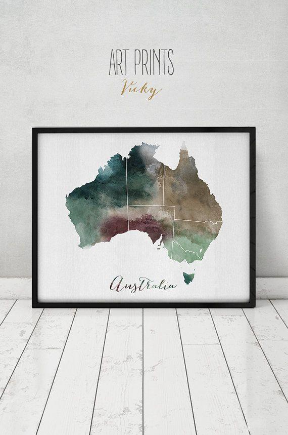 Aquarell-Karte Australien Australien Wandkunst von ArtPrintsVicky