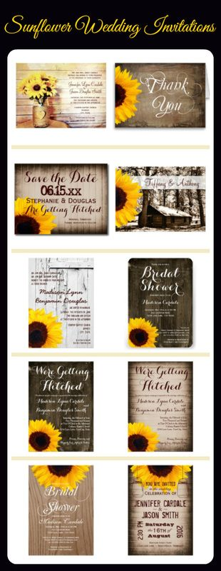 Country Sunflower Wedding Invitations. Order 100+ Invites and get 40% OFF. | www.RusticCountryWeddingInvitations.com