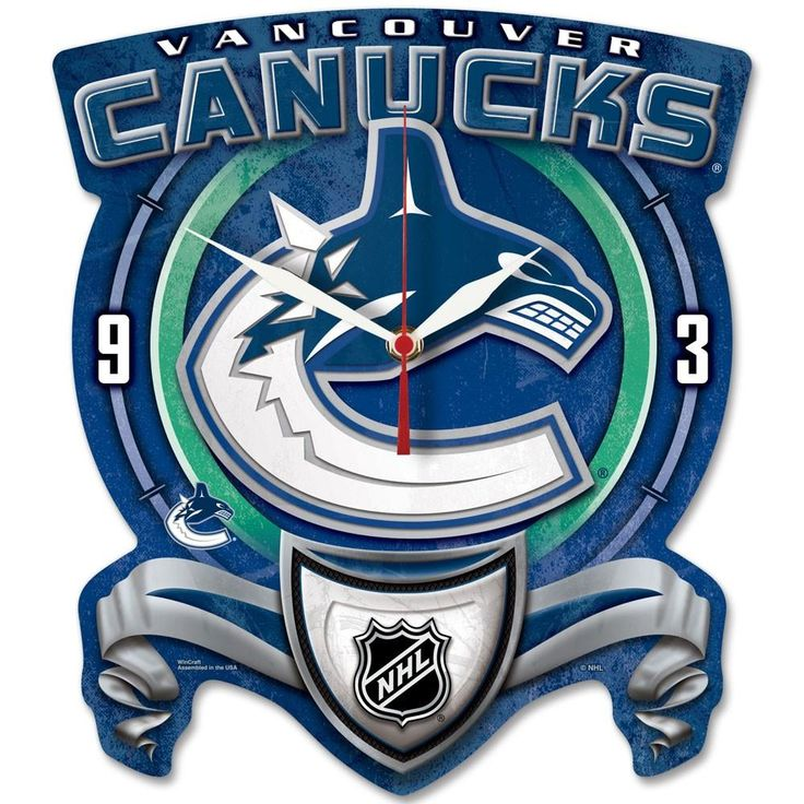 Vancouver Canucks High Def. Plaque Style Wall Clock