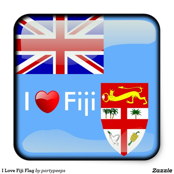 I Love Fiji Flag Square Sticker
