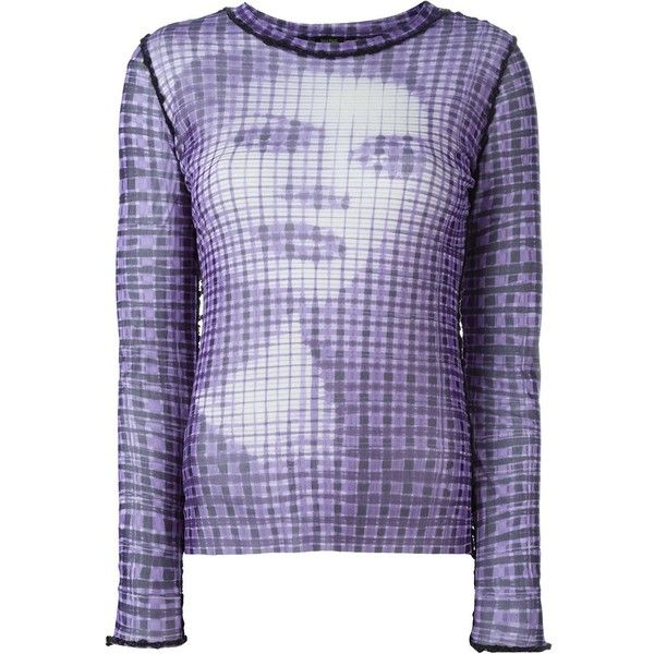 Jean Paul Gaultier Vintage printed sheer top (540 BAM) ❤ liked on Polyvore featuring tops, purple, long sleeve tops, purple sheer top, see through tops, purple top and purple long sleeve top