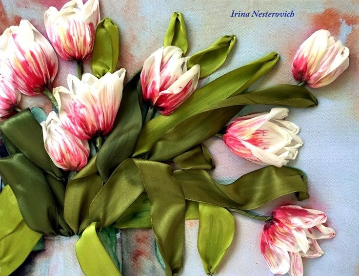 """Picture 3d """"Tulips"""", embroidery with silk ribbon, by RibbonEmbroiderySilk on Etsy"""