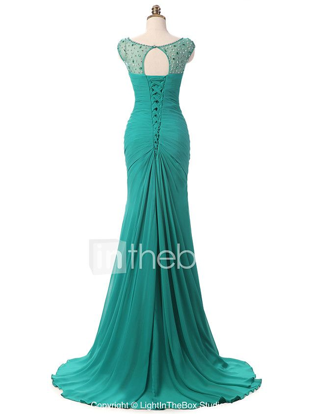 Mermaid / Trumpet V-neck Court Train Chiffon Formal Evening Dress with Side Draping Crystal Brooch Pleats by Shang Shang Xi 2018 - $109.99
