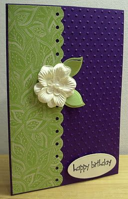"card by Jenny... she says this is  ""Purple, Green and White""..... which is one of my favorite color combos, BUT.... I like this because it looks like a midnight blue, green and a pastel yellow on my monitor!... (change sentiment)"