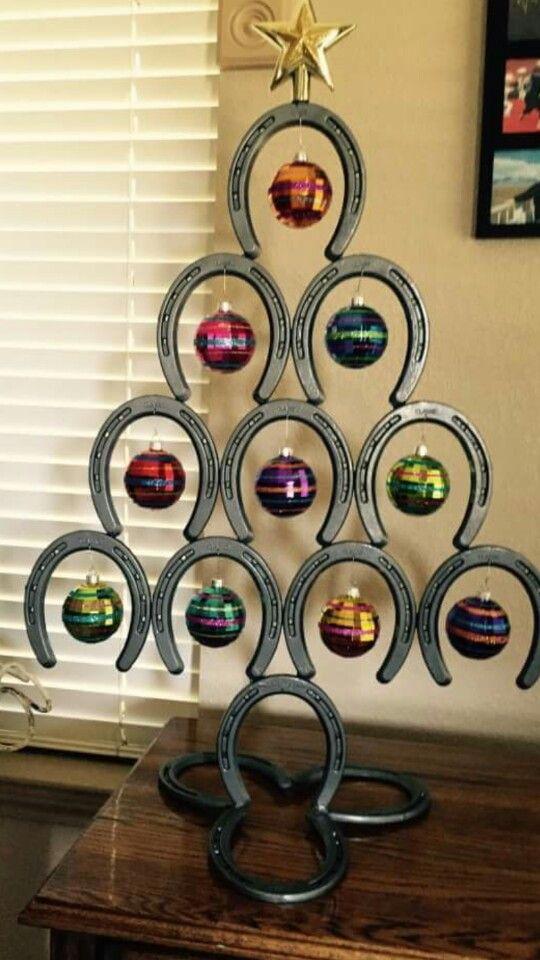 85 best x mas trees images on pinterest horseshoe art for Christmas tree made out of horseshoes