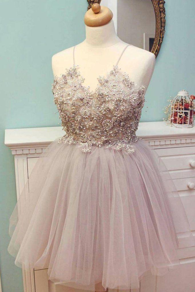 b3b459a257 Cute v neck tulle beads short prom dress
