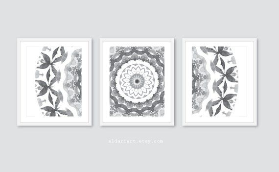 Grey Mandala Prints Mandala Wall Art Set Of 3 Prints Etsy Mandala Wall Art Contemporary Art Prints Wall Art Sets