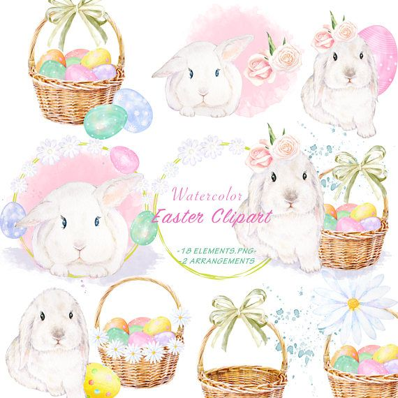 Watercolor Easter Rabbit Clipart, Hand Drawn Bunny Illustration, Pastel Easter Eggs with Basket, Printable Spring Image, Bunny charm Art