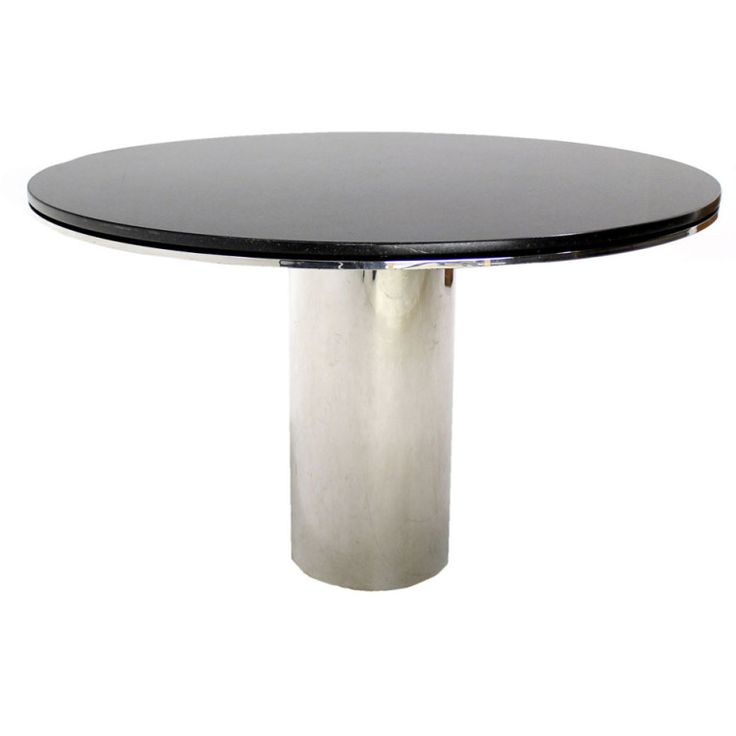 Polished Steel Granite Top Brueton Round Dining Conference Mid Century  Modern