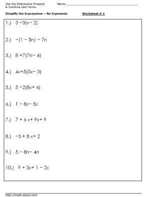 Practice Simplifying Expressions With These Algebra Worksheets: Worksheet # 1 - Use the Distributive Property, Combine Like Terms - No Exponents