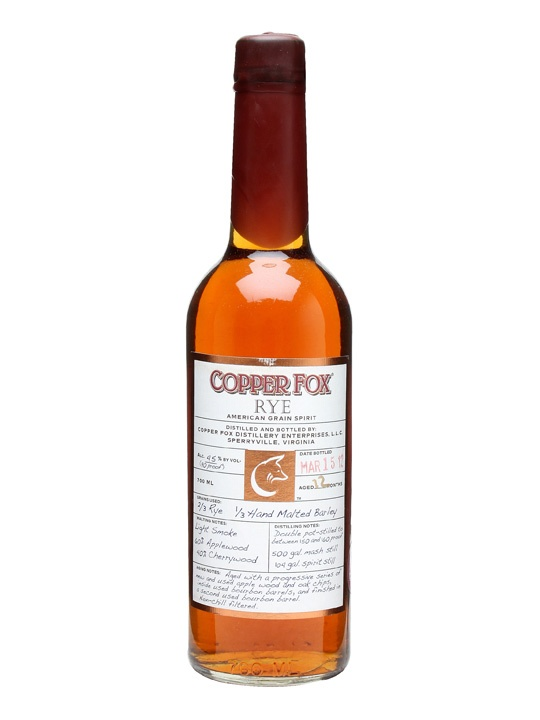 Copper Fox Rye : Buy Online - The Whisky Exchange - A rye spirit from the folks behind Wasmund's single malt. It's not allowed to be called whiskey in the EU as it's under 3 years old or in the USA as it's not been in a new charred American oak cask...