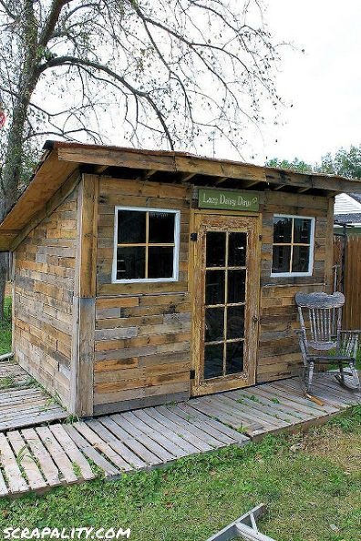 pallet shed using pallets old windows tin cans