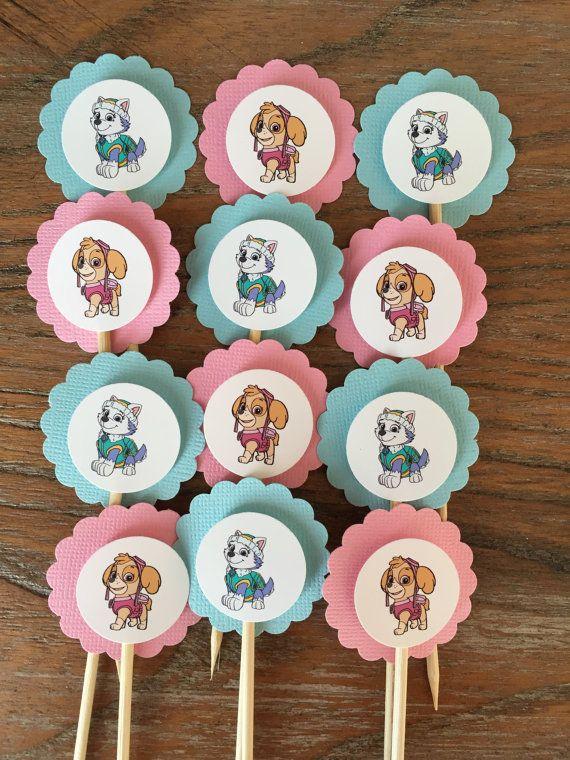 Skye y Everest temática Cupcake Toppers patrulla de