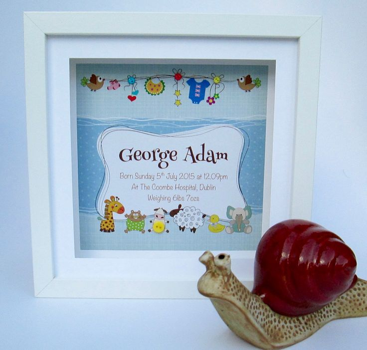 146 best personalised new baby gifts images on pinterest baby personalised baby boy frame washing line animals design negle Gallery