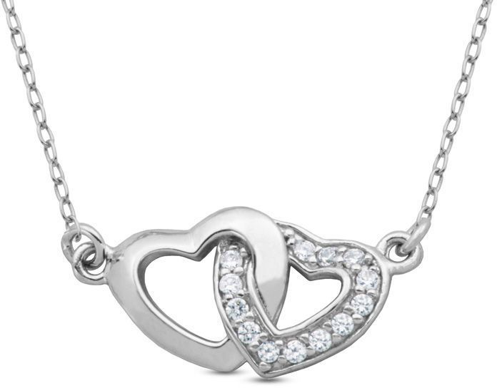 Zales Lab-Created White Sapphire Double Heart Necklace in Sterling Silver