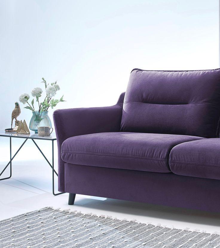 Loft canapé droit prune violet plum convertible ouverture express salon design tendance lam ...