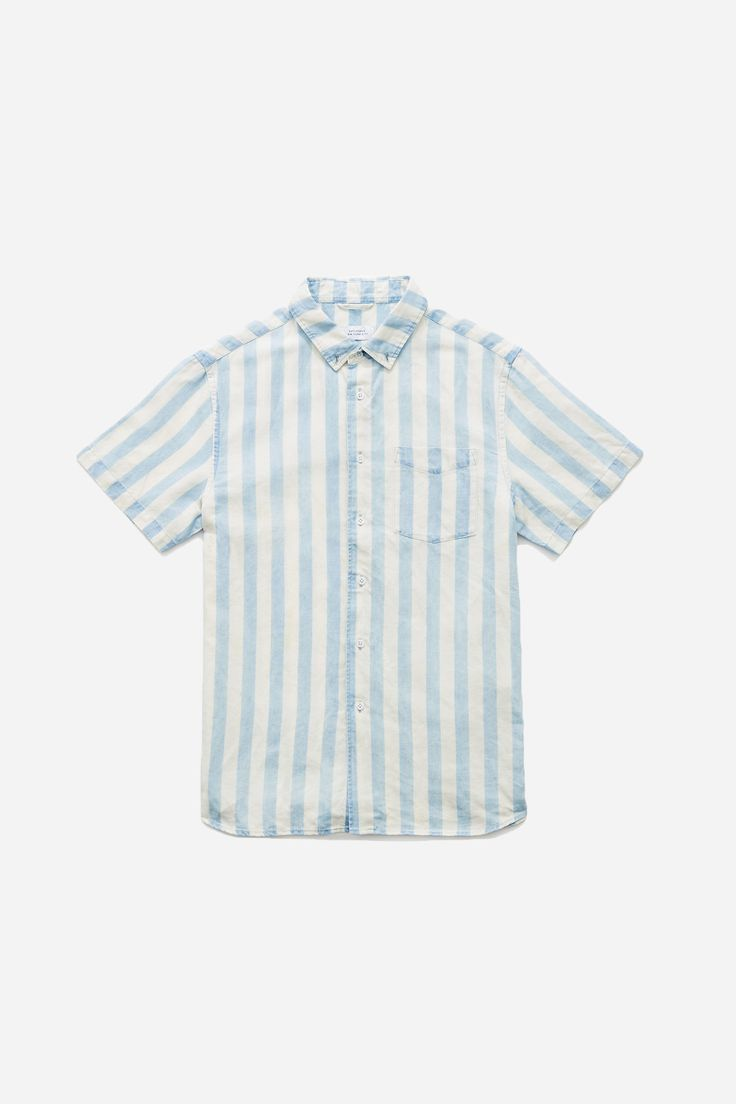 Esquina Button Down Linen Stripe Short Sleeve Shirt, Bleached Wash