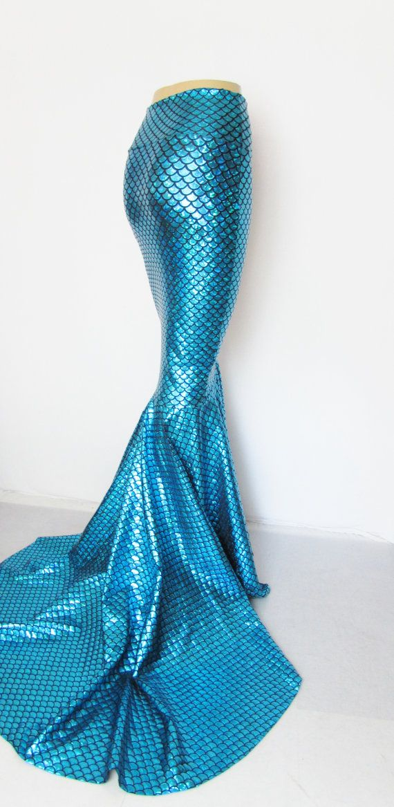 Turquoise Mermaid Skirt Fish tail costume by ZanzaDesignsClothing