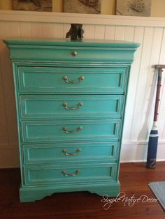 A gorgeous turquoise dresser DIY
