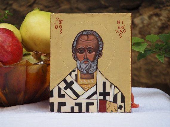 St. Nicholas of Myra original byzantine icon of St. by angelicon, €56.00