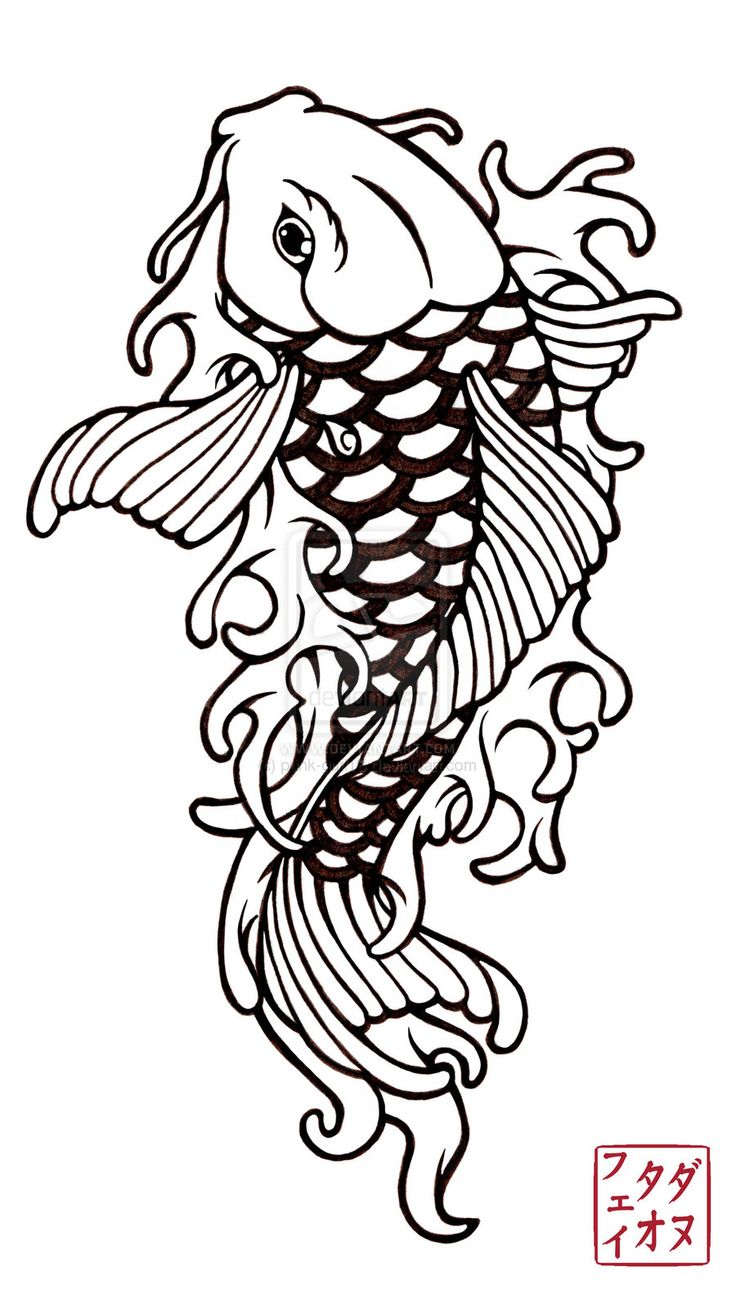 Free Design Patterns | 100 desenhos de Carpas » koi_tattoo_design_2_by_punk_gurl18-d36t6dq