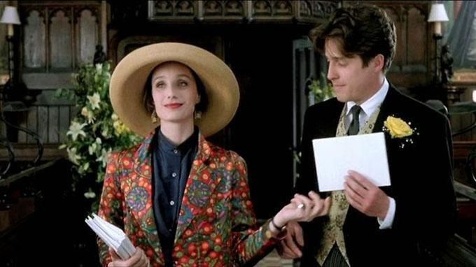 Kristin Scott Thomas And Hugh Grant As Fiona And Charles In Four Weddings And A Funeral Kristin Scott Thomas Funeral Outfit Funeral