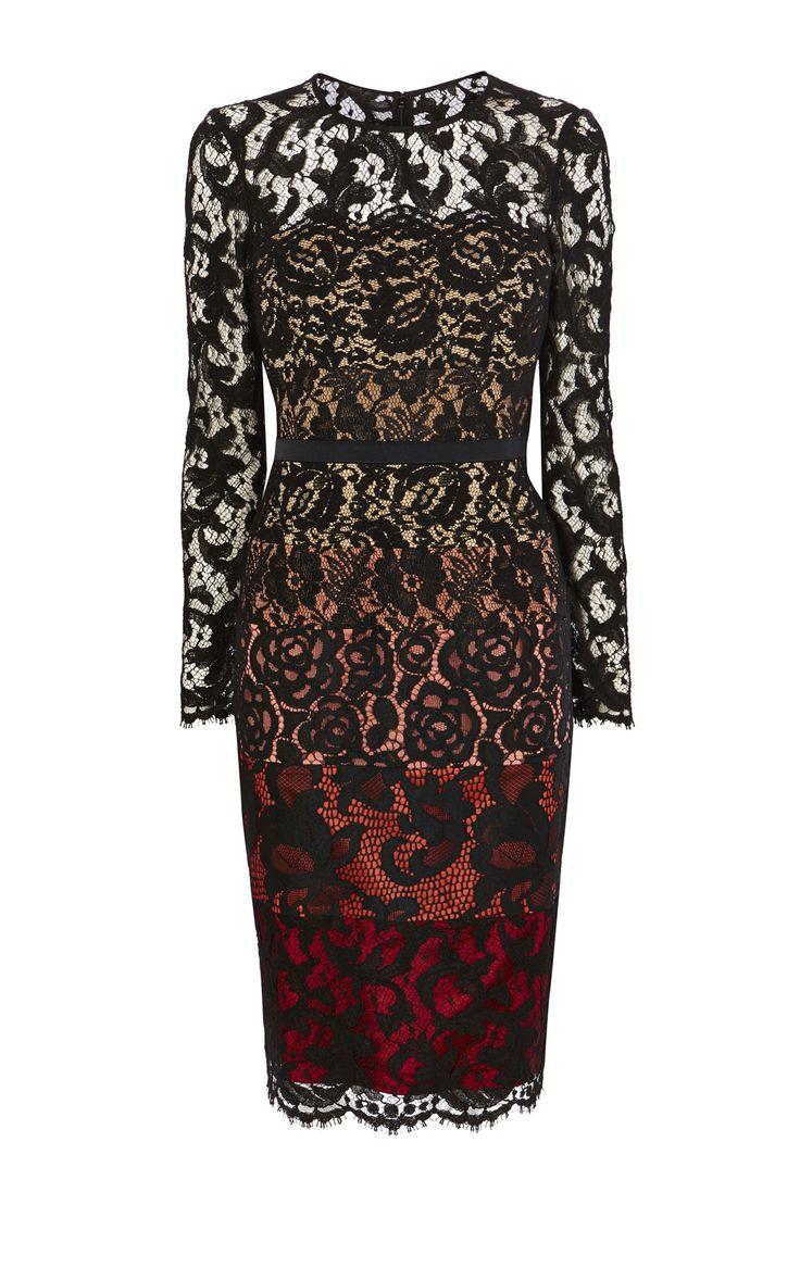Karen Millen, LACE CONTRAST DRESS Black/Multi
