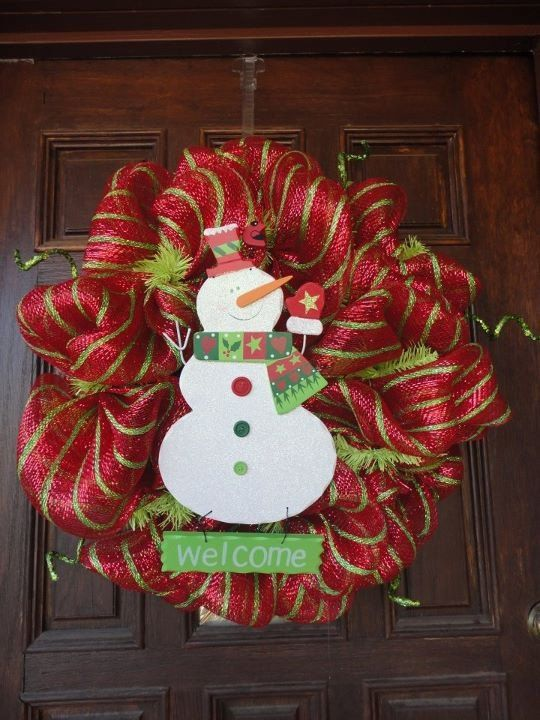 Snowman Winter Deco Mesh Wreath