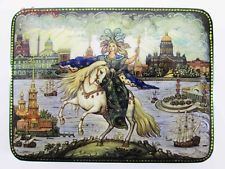 "Russian Lacquer box style Palekh ""St. Petersburg"" Hand Painted  Decoupage №25 -2"
