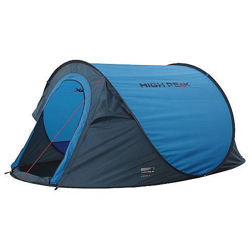 Zelte Vision 3    Das High Peak Vision 3 Popup-Zelt für 3 Personen lässt sich spielend leicht in 1 Minute aufbauen: man muss es nur auf den Boden werfen, den Rest besorgen die integrierten Glasfaserstangen, die sich von alleine aufklappen!    Aufbau-/ Wohnfläche: 235 x 180 cm  Beschichtung: Polyurethan (PU)  Farbe: blau/dunkelgrau  Gewicht: ca. 2,3 kg  Lieferumfang: eingenähte Bodenplane  Mater...
