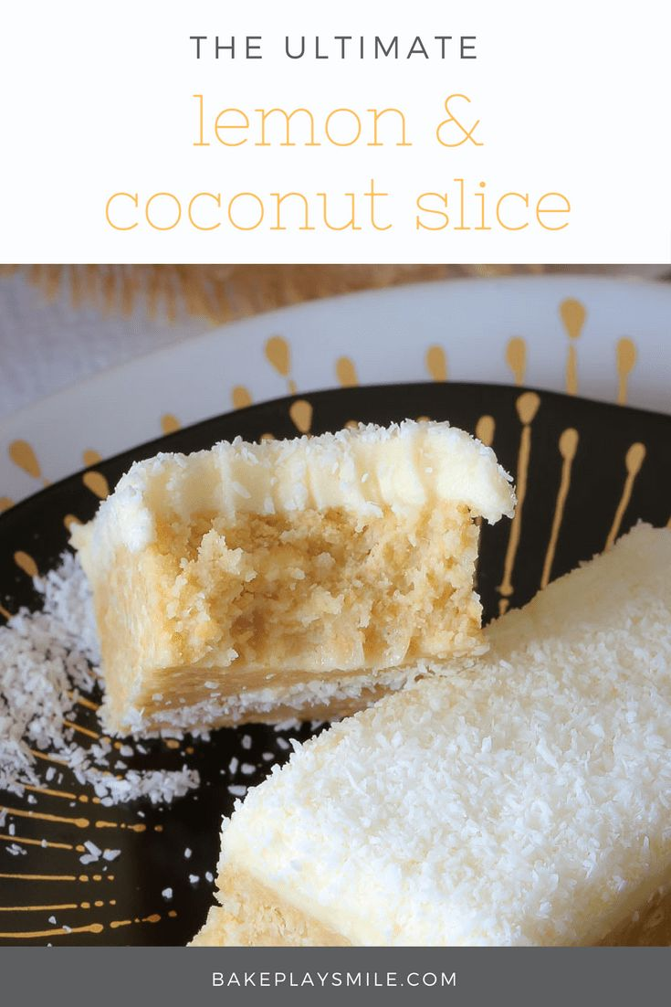The most popular ever LEMON & COCONUT SLICE!!!!! This no-bake slice is an absolute classic and always the first to go at parties. #lemon #coconut #slice #bars #nobake #recipe #best #easy #thermomix #conventional #lunchbox #classic