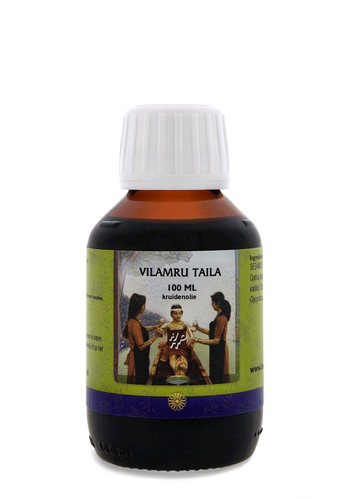 Vilamru Taila 100ML  Description: Olie voor de huid.Vilamru taila is verkoelend en ondersteunt een goede huidfunctie. Vanwege zijn huidzuiverende effecten wordt deze kruidenolie veel toegepast bij hoofdroos puistjes en andere situaties waarin de huid wel wat extra verzorging kan gebruiken.Toepassing:Uitsluitend voor hoofd- en lichaamsmassage. Niet geschikt als neusdruppels.Algemene gebruiksaanwijzing:Schud de fles. Het beste resultaat wordt verkregen als de olie een temperatuur van circa 40C…