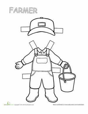 Second Grade Paper Dolls Worksheets: Farmer Paper Doll
