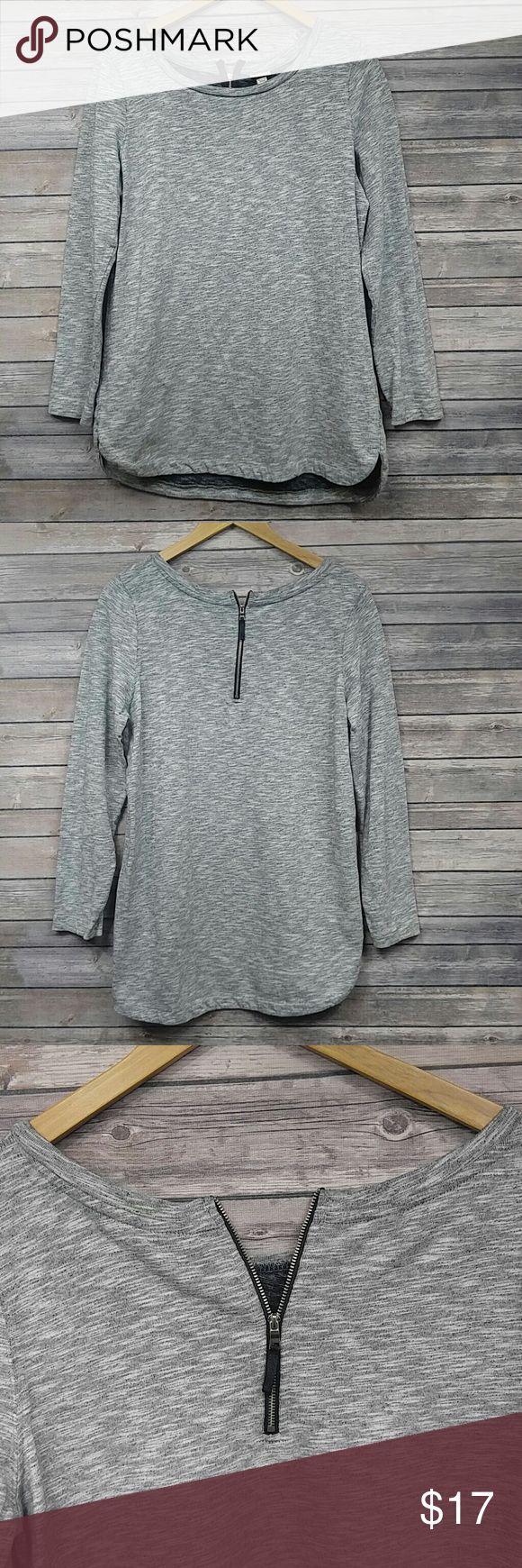 Merona grey long sleeve dress ?100% cotton ?Size XL ?long sleeve shirt dress with small back zipper ?Pairing: moto jacket and some sparkly earrings Merona Dresses Long Sleeve