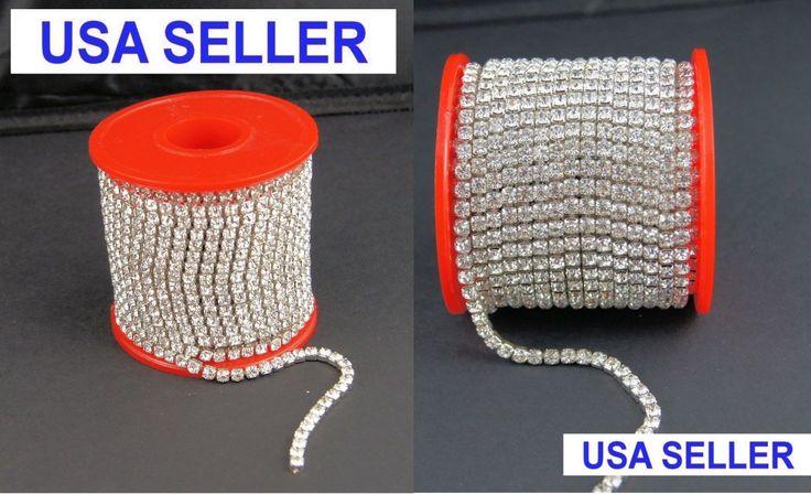 10 Yards Silver Rhinestone SS6-SS28 DIY Close Chain Clear Trim Sewing Craft